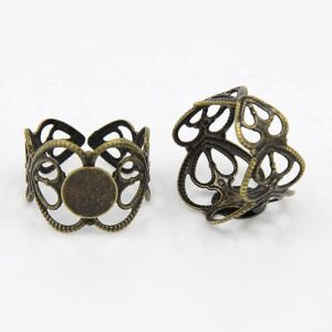 Antikolt bronz rokokó gyűrűalap
