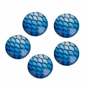 Sötét kék sellőmintás üveglencse (20mm)