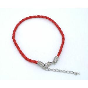 Piros műbőr fonott karkötőalap