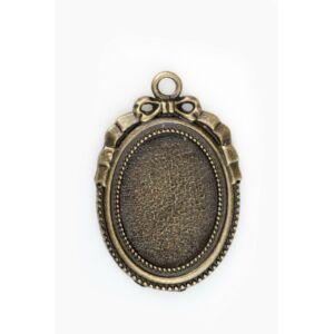 Antikolt bronz színű masnis medálalap (18x25mm)