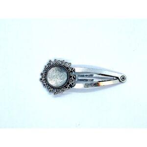 Antikolt ezüst színű díszes hajcsat (14mm) hozzátartozó üveglencsével