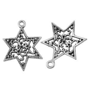 Antikolt ezüst színű karácsonyi csillag fityegő