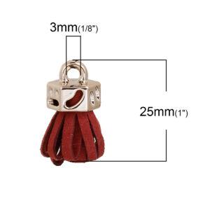 Bordó színű bársonybőr bojt (25x11mm)