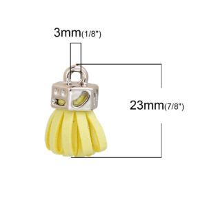Sárga színű bársonybőr bojt (25x11mm)
