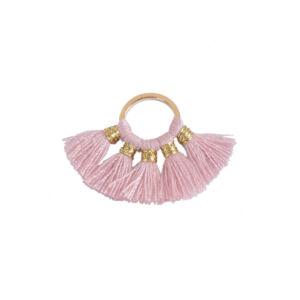 Rózsaszínű pamutbojtokkal díszített karika (25x27mm)