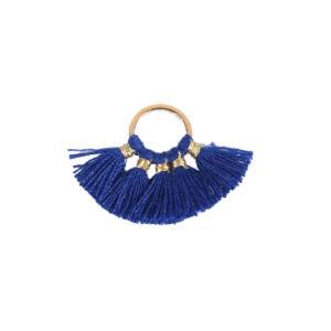Sötét kék színű pamutbojtokkal díszített karika (25x27mm)
