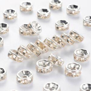 10db ezüst színű strasszos köztes (7x3,5mm)
