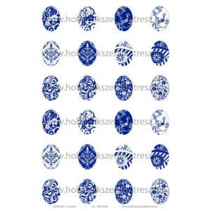 Kékfestős-1 Üveglencsés ékszerpapír 18x25mm 12 féle minta A5