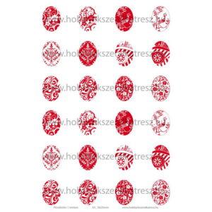 Pirosfestős-1 Üveglencsés ékszerpapír 18x25mm 12 féle minta A5