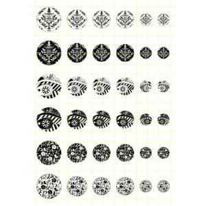 Fekete-fehér-2 Üveglencsés ékszerpapír több méret A5