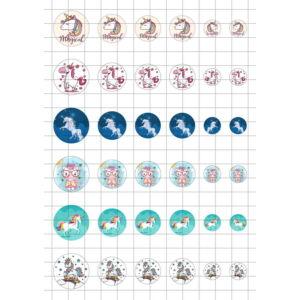 Unikornis-1 Üveglencsés ékszerpapír több méret A5