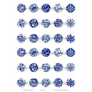 Kékfestős-1 Üveglencsés ékszerpapír 20mm 15 féle minta A5