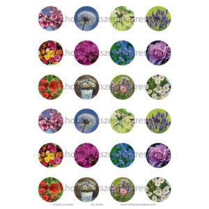 Virágok-3 Üveglencsés ékszerpapír 25mm 12 féle minta A5
