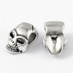 Antik ezüst színű koponya alakú gyöngy