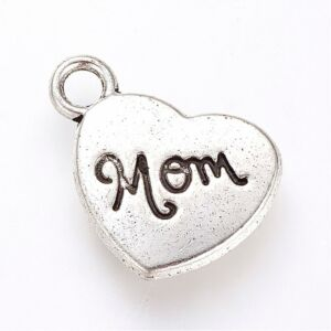Antikolt ezüst színű MOM szív alakú fityegő