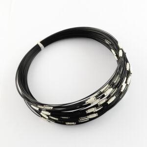 Fekete rozsdamentes acél nyaklánc alap