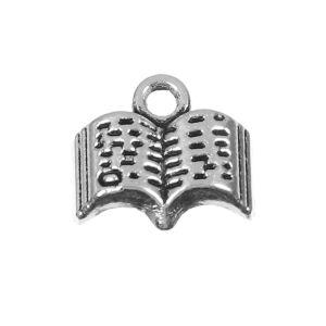 Antikolt ezüst színű nyitott könyv fityegő
