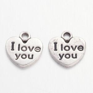 """Antikolt ezüst színű """" I love you"""" feliratos fityegő"""