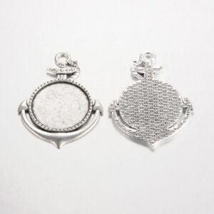 Antikolt ezüst színű vasmacska medálalap (25mm)