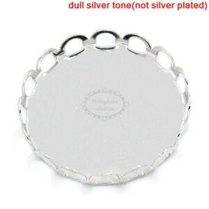 Antikolt ezüst színű csipkés medálalap (25mm)