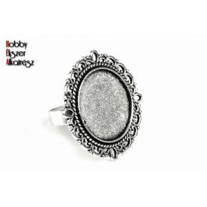 Antikolt ezüst színű díszes gyűrűalap (20mm)
