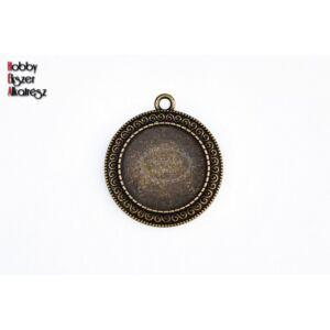Antikolt bronz színű csigavonal mintájú medálalap (25mm)