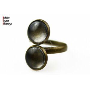 Antikolt bronz színű dupla tányéros gyűrűalap hozzátartozó üveglencsével (12mm)