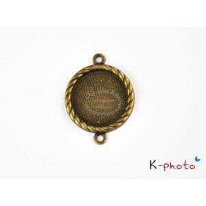 Antikolt bronz színű csavart szélű medálalap/kapcsolóelem (20 mm)