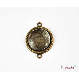 Antikolt bronz színű csavart szélű medálalap/kapcsolóelem hozzátartozó üveglencsével (20mm)