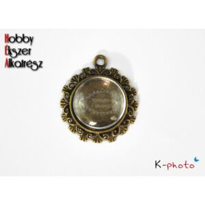 Antikolt bronz színű reneszánsz medálalap (20mm) hozzátartozó üveglencsével