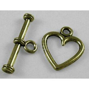 Antikolt bronz színű szív alakú T-kapocs