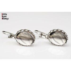 Antikolt ezüst színű csipkés fülbevalóalap (10x14mm) hozzátartozó üveglencsével