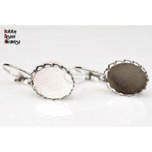 Antikolt ezüst színű csipkés fülbevalóalap (10x14mm)