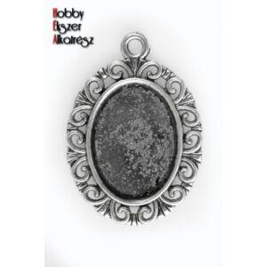 Antikolt ezüst színű medálalap (13x18mm) (hullámos)