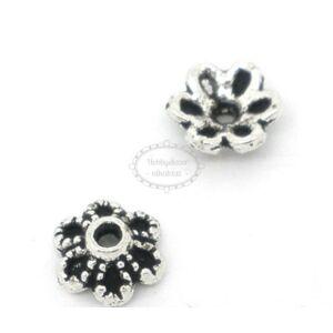 10db Antikolt ezüst színű virágos gyöngykupak