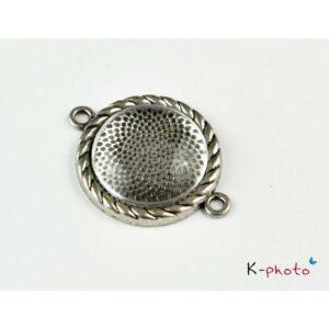Antikolt ezüst színű medálalap/kapcsolóelem (20mm) hozzátartozó üveglencsével
