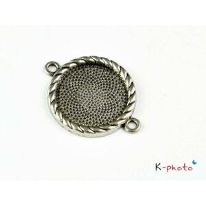 Antikolt ezüst színű medálalap/kapcsolóelem (20mm)