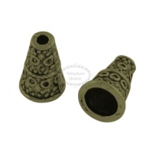 10db Antikolt bronz színű hosszúkás gyöngykupak