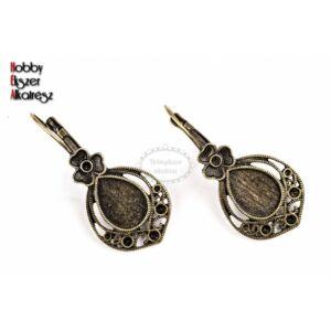 Antikolt bronz színű díszes csepp fülbevaló (10x14mm)