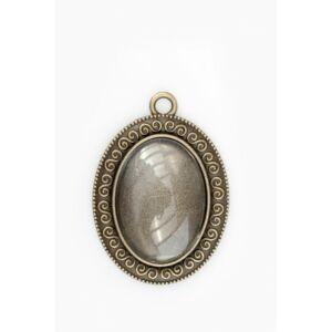 Antikolt bronz színű csigavonalas medálalap (18x25mm) hozzátartozó üveglencsével