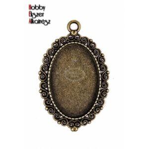 Antikolt bronz színű díszes medálalap (20x30mm)