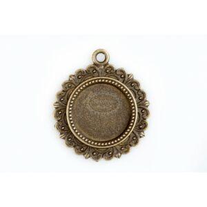 Antikolt bronz díszes medálalap (16mm)