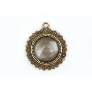 Antikolt bronz színű díszes medálalap (16mm) hozzátartozó üveglencsével