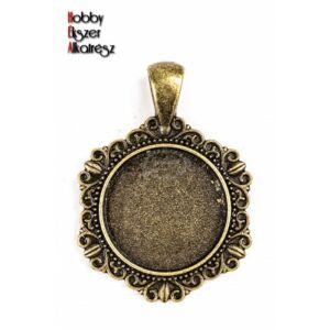 Antikolt bronz színű díszes medálalap (20mm)