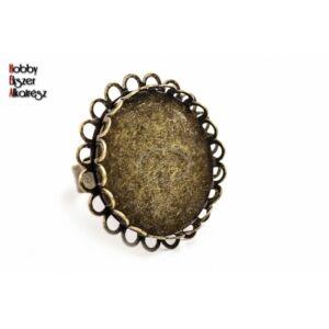 Antikolt bronz színű dupla csipkés gyűrű (25mm)