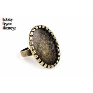 Antikolt bronz színű fogas gyűrűalap (18x25mm)