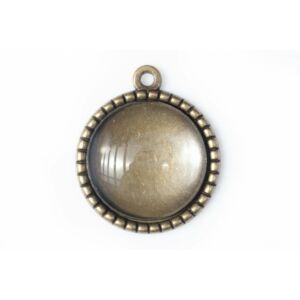 Antikolt bronz színű fogazott medálalap (25mm) hozzátartozó üveglencsével