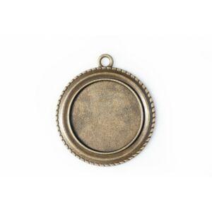Antikolt bronz színű csavart szélű medálalap (25mm)