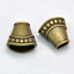 Antikolt bronz lapított gyöngykupak/végzáró