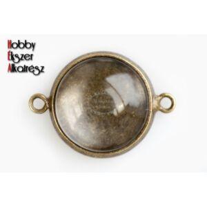 Antikolt bronz színű lemezes kapcsolóelem (14mm) hozzátartozó üveglencsével